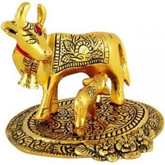 Golden brass kamdhenu cow with calf